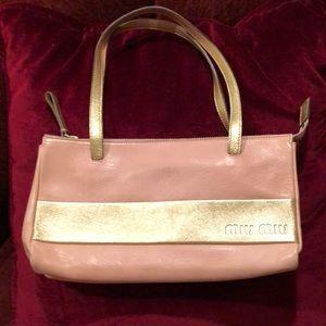 Miu miu pink/ gold leather bag